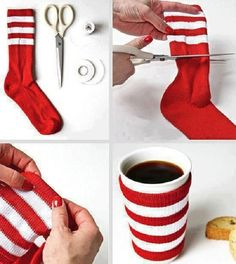 Cute DIY Christmas coffee sock mug warmer. Love these | DIY for Home & Fashion