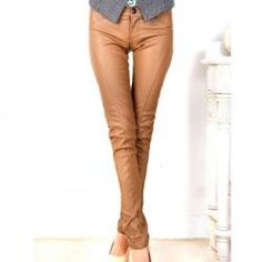 $16.05 Top Quality Slimming PU Leather Pencil Trousers For Women