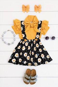 Mustard Daisy Suspender Skirt Set With Tie Top - Sparkle In Pink Newborn Girl Outfits, Kids Outfits Girls, Dresses Kids Girl, Little Girl Outfits, Toddler Girl Outfits, Kids Dress Wear, Kids Wear, Baby Girl Fashion, Kids Fashion