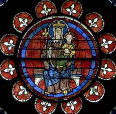 Chartres Cathedral Stained Glass - Bay 121 (The North Transept Rose - Virgin & Child)