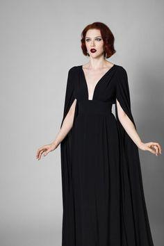 Vamp Dress – Trashy Diva Source by beebeepupbeebee Black Dresses Boho Dress, Dress Skirt, Dress Up, Cape Sleeve Dress, Cape Dress, Prom Dress, Clothing And Textile, Looks Vintage, Spring Dresses