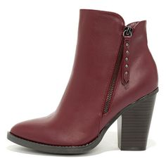 Style Icon Burgundy Ankle Boots ($37) ❤ liked on Polyvore featuring shoes, boots, ankle booties, ankle boots, red, pointed toe booties, red boots, burgundy booties, short boots and high heel booties