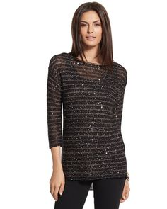 Chicos Womens Sparkle Stripe Lindsey Pullover from Chico's on Catalog Spree, my personal digital mall.