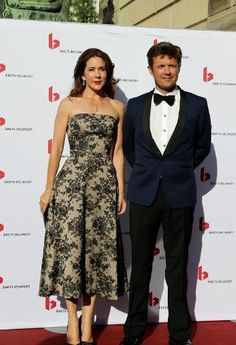 Crown Princess Mary and Crown Prince Frederik of Denmark attend the annual Reumert Prize at the Royal Theatre in Copenhagen on June 22, 2014 #celine #gianvitorossi