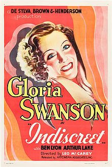 """Indiscreet (1931) is an American comedy film directed by Leo McCarey and starring Gloria Swanson and Ben Lyon. The screenplay by Buddy G. DeSylva, Lew Brown, and Ray Henderson, based on their story Obey That Impulse, originally was written as a full-fledged musical, but only two songs - """"If You Haven't Got Love"""" and """"Come to Me"""" - remained when the film was released.[1]  The plot of the United Artists release centers on fashion designer Geraldine Trent (Swanson)."""