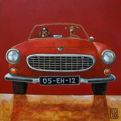 131 VOLVO P1800 RED  signed and numbered print  14 x 14 by edart, $19.17