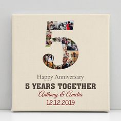 This 5 Year Anniversary Photo Collage custom canvas print will be the perfect decoration for your house. Besides, it makes the best 5th anniversary gift idea for him or her as well. Simply upload your favorite photos, and you will have the perfect keepsake that lasts for years to come. #anniversary#5years#anniversarygift#canvas#anniversaryideas#couple#canvas#decor