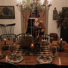 Arnett Santa makes a wonderful centerpiece for the dining room table ♥️ Primitive Christmas Decorating, Primitive Country Christmas, Christmas Decorations, Table Decorations, Primitive Decorations, Prim Decor, Primitive Santa, Christmas Tablescapes, Valentine Decorations