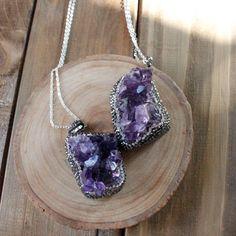 Swarovski+Amethyst+Crystal+Rock+Silver+Necklace/+by+EwelinaPas