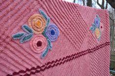 Rose Pink Vintage Chenille Bedspread/Vintage by carohope on Etsy