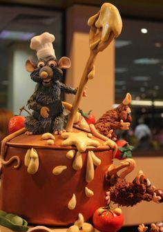 Ratatouille Gold winning cake at Cake International Disney Themed Cakes, Disney Cakes, Theme Cakes, Beautiful Cakes, Amazing Cakes, Fondant Cakes, Cupcake Cakes, Kids Cooking Party, Realistic Cakes