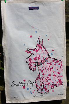 Scottish MadeTeaTowel  Featuring A Scottie Dog.