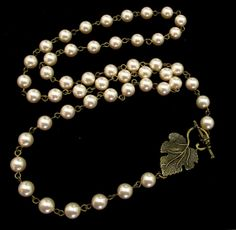 Pearl Necklace with Leaf Accent by byBrendaElaine on Etsy, $34.00
