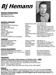 an article about creating a professional acting rsum by art lynchs sag actor online - Sample Theater Resume