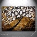 White Blooms Malorcka Acrylic Painting Abstract Actylic Tree Impasto Arts And Crafts Modern Wallpaper Headboard Wall Panel
