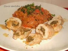 Cinco sentidos na cozinha: Rolinhos de peru recheados com paté de azeitonas e...