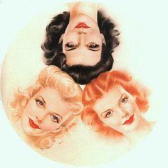 A blonde, a brunette and a redhead.