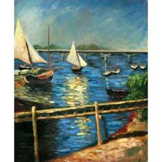 Real Handmade Boats in the Harbor Oil Painting