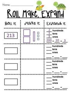 Place Value Roll it, Make it, Expand it Math Station ~ 4 different levels (this is the highest, other 2 are 2-digit) — roll dice to make a number then draw it and expand it **alter to include decimals and word form!