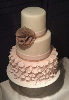 Pink rose petal  wedding cake created by Shannon Pilarski