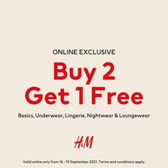 H&M Online Buy 2 Get 1 FREE Sale from 16 September 2021 until 19 September 2021 Got 1, H&m Online, Fashion Sale, Lounge Wear, How To Apply, Free, Loungewear, Casual Wear