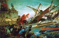 El cuadro del Senado sobre la batalla de Lepanto, pintado por Juan Luna Novicio. Más en www.elgrancapitan.org/foro