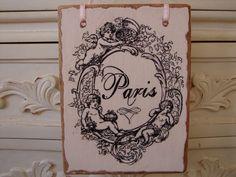 PARIS shabby chic Cherubs wooden tag