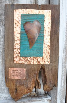 Copper heart art, Western art,  House warming gift, cowboy art, ranch decor, cowboy decor, horseshoe art, irish sign on Etsy, $65.00