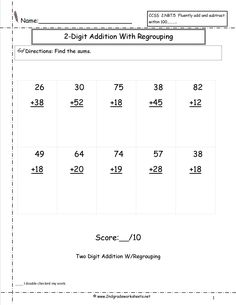 two digit addition with regrouping assessment love to learn pinterest worksheets math. Black Bedroom Furniture Sets. Home Design Ideas