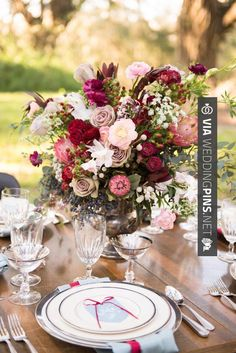 Yes - Wedding Colour Schemes 2017 - Rose, protea, and berry centerpiece…