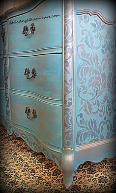 Turquoise Dresser- stencil with more than one color to create depth - Decoration for House Hand Painted Furniture, Refurbished Furniture, Paint Furniture, Repurposed Furniture, Furniture Projects, Furniture Makeover, Vintage Furniture, Cool Furniture, Bedroom Furniture