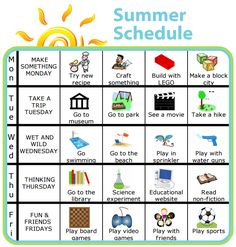 Make Your Own Morning Routine PLUS lots of other printable activities for kids Add a little structure to your summer with a picture schedule. This one is super easy to edit so you can make it right for your family. Kids Summer Schedule, Summer Fun For Kids, Toddler Schedule, Summer Activities For Kids, Toddler Activities, Indoor Activities, Kids Fun, Learning Activities, Daily Schedule Kids