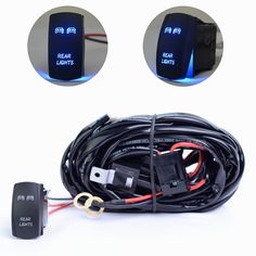 MICTUNING LED Light Bar Wiring Harness Laser ON/OFF Rocker Switch(1Lead 14AWG) - REAR LIGHTS Blue