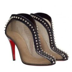 CHRISTIAN LOUBOUTIN 'Bourriche' spiked mesh ankle boots