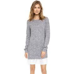 Clu Clu Too Pleated Sweater Dress ($130) ❤ liked on Polyvore featuring dresses, heather grey, clu dress, frilly dress, sweater dress, clu and long sleeve pleated dress