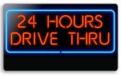 Everbrite 24 Hours Drive Thru Neon Sign