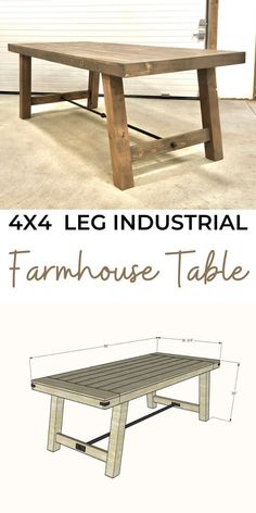 Free plans to build your own industrial farmhouse table. This plan is similar in design to our original Benchwright Industrial Farmhouse table, but this plan uses solid 4x4 legs, and a simplified tabletop design. #anawhite #anawhiteplans #diy #industrial #farmhouse #diytable #diningtable Diy Furniture Projects, Diy Furniture Plans, Farmhouse Furniture, Farmhouse Table, Furniture Makeover, Cool Furniture, Diy Projects, Farmhouse Decorative Pillows, Reclaimed Wood Desk