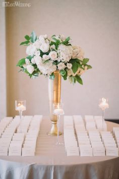 Escort Card Table Ideas, White Wedding Flowers, Blush Wedding Flowers, Gold Centrepiece Vases