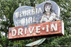 Photo Georgia Girl Drive-In Sign, U.S. Highway 17, Woodbine, Georgia by Dawna Moore