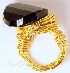 Anillos - Anillo Cristal Swarovski Negro Aluminio Dorado - hecho a mano por ArtBijou en DaWanda