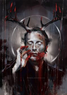 "wisesnail: ""Despite the fact that this is a Hannibal Cliche Fest, I kind of like how it turned out :) Prints and other stuff on my and RedBubble "" Nbc Hannibal, Hannibal Lecter, Hannibal Series, Hannibal Wendigo, Hannibal Humor, Tarot, Arte Horror, Kintsugi, Mads Mikkelsen"