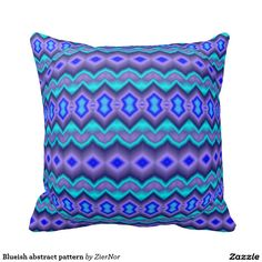 Blueish abstract pattern throw pillows