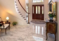 granite flooring How to Clean Marble Floors of Any Dust, Dirt, and Stains - Bob Vila Marble Foyer, Marble Stairs, Wood Stairs, Porch Stairs, Granite Flooring, Stone Flooring, Concrete Floors, Flooring Ideas, Cleaning Marble