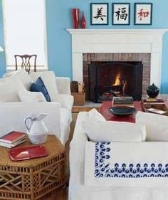 Seating around a fireplace.