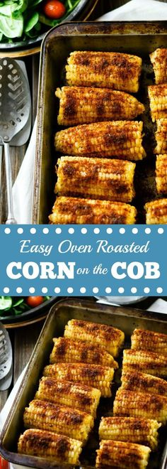 Easy Oven Roasted Corn on the Cob - fresh grilled flavor, no grill required! | 4th of July party ideas | indoor grill recipes | healthy grilling recipes |