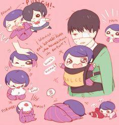 Kaneki and Baby!Tsukiyama ||| Tokyo Ghoul Fan Art (pinning mostly for kaneki's done face)