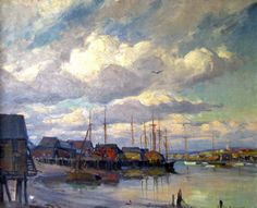 """""""Gloucester Sky,"""" Emile A. Gruppe, oil on canvas, 25 x 30"""", private collection."""