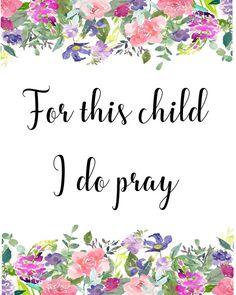 For this child I do pray pray for child printable art | Etsy