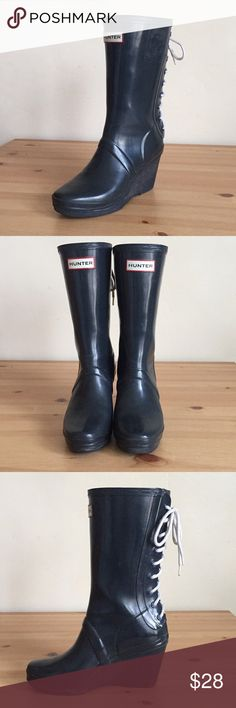 """4383a462ea62 Hunter Verbier Wedge Lace-Up Rain Boots Navy Blue Hunter """"Verbier"""" Rain  Boots"""