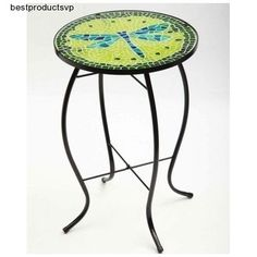 #Ebay #Glass #Display #Table #Side #Metal #Round #Indoor #Outdoor #Deck #Decor #Coffee #Durable